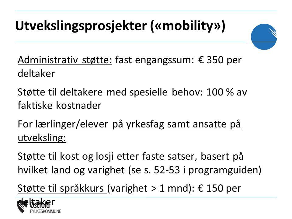 Utvekslingsprosjekter («mobility») Administrativ støtte: fast engangssum: € 350 per deltaker Støtte til deltakere med spesielle behov: 100 % av faktis