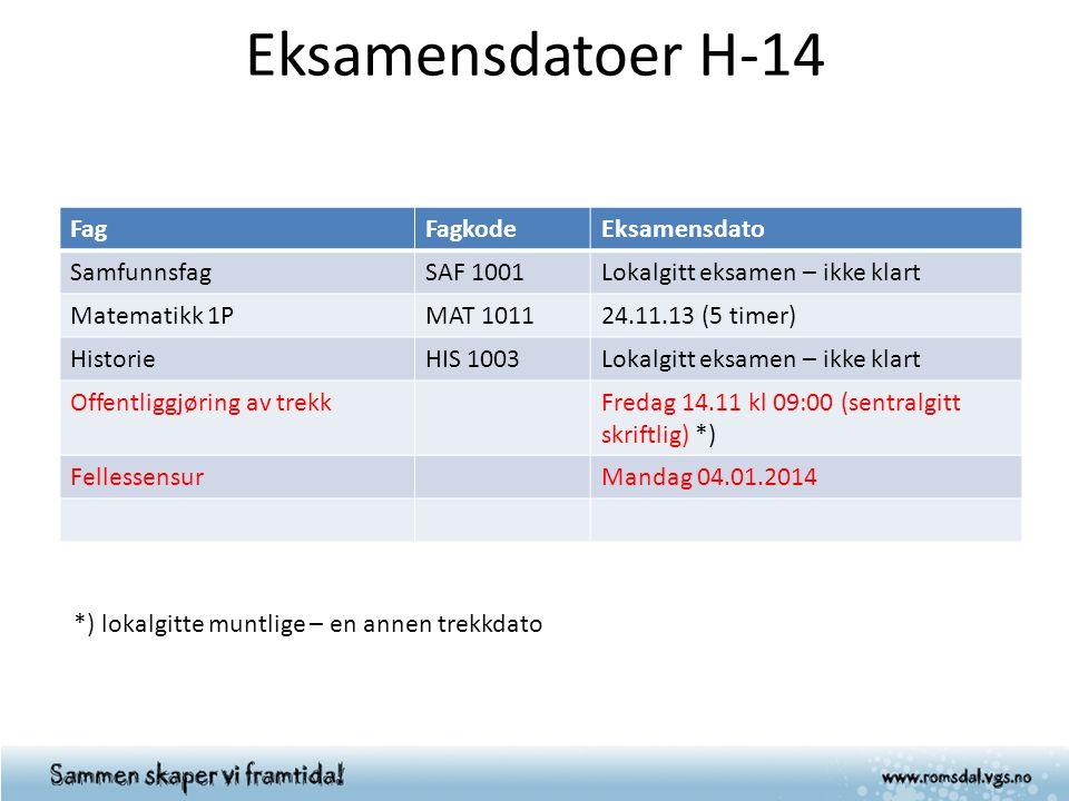 Eksamensdatoer H-14 FagFagkodeEksamensdato SamfunnsfagSAF 1001Lokalgitt eksamen – ikke klart Matematikk 1PMAT 101124.11.13 (5 timer) HistorieHIS 1003L