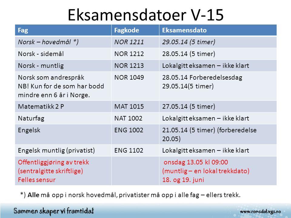 Eksamensdatoer V-15 FagFagkodeEksamensdato Norsk – hovedmål *)NOR 121129.05.14 (5 timer) Norsk - sidemålNOR 121228.05.14 (5 timer) Norsk - muntligNOR 1213Lokalgitt eksamen – ikke klart Norsk som andrespråk NB.
