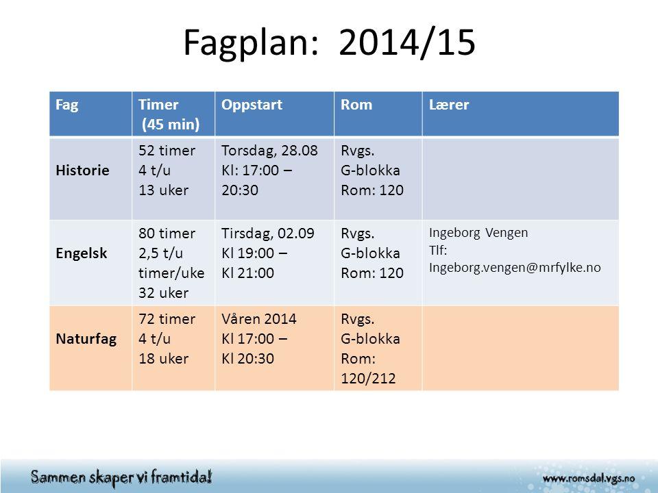 Fagplan: 2014/15 FagTimer (45 min) OppstartRomLærer Historie 52 timer 4 t/u 13 uker Torsdag, 28.08 Kl: 17:00 – 20:30 Rvgs. G-blokka Rom: 120 Engelsk 8