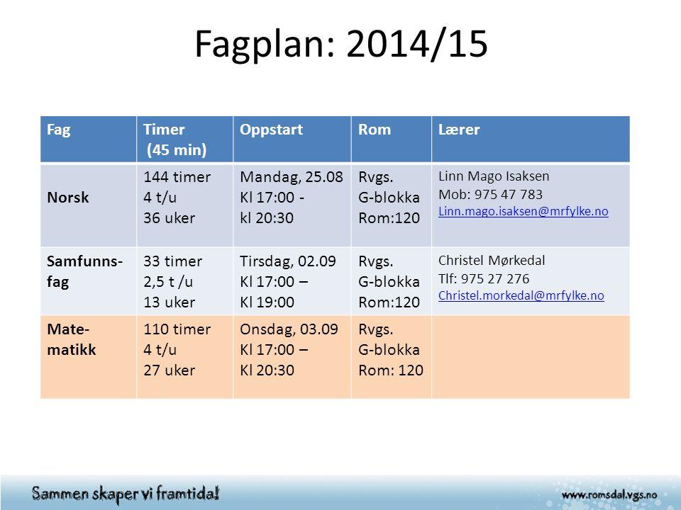 Fagplan: 2014/15 FagTimer (45 min) OppstartRomLærer Norsk 144 timer 4 t/u 36 uker Mandag, 25.08 Kl 17:00 - kl 20:30 Rvgs. G-blokka Rom:120 Linn Mago I