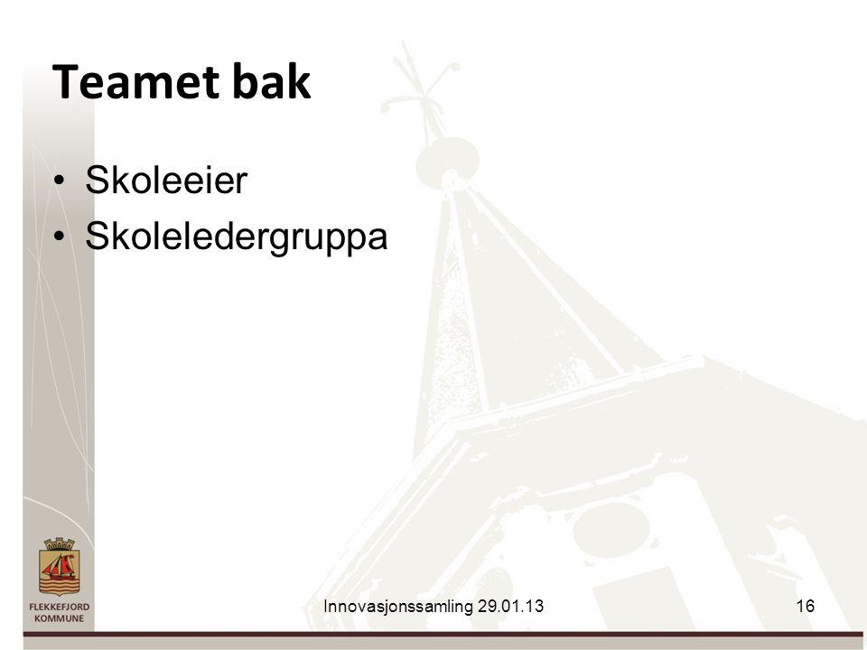 Teamet bak Skoleeier Skoleledergruppa Innovasjonssamling 29.01.1316