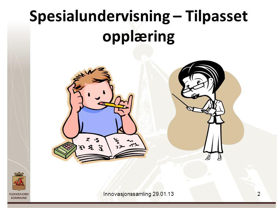 Spesialundervisning – Tilpasset opplæring Innovasjonssamling 29.01.132