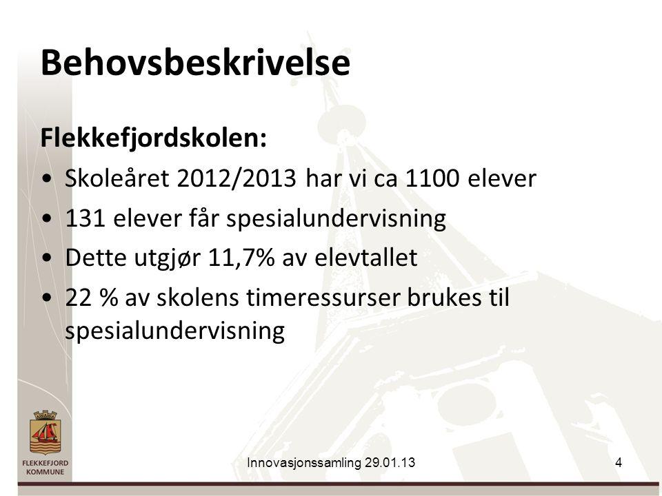 Behovsbeskrivelse Flekkefjordskolen: Skoleåret 2012/2013 har vi ca 1100 elever 131 elever får spesialundervisning Dette utgjør 11,7% av elevtallet 22 % av skolens timeressurser brukes til spesialundervisning Innovasjonssamling 29.01.134