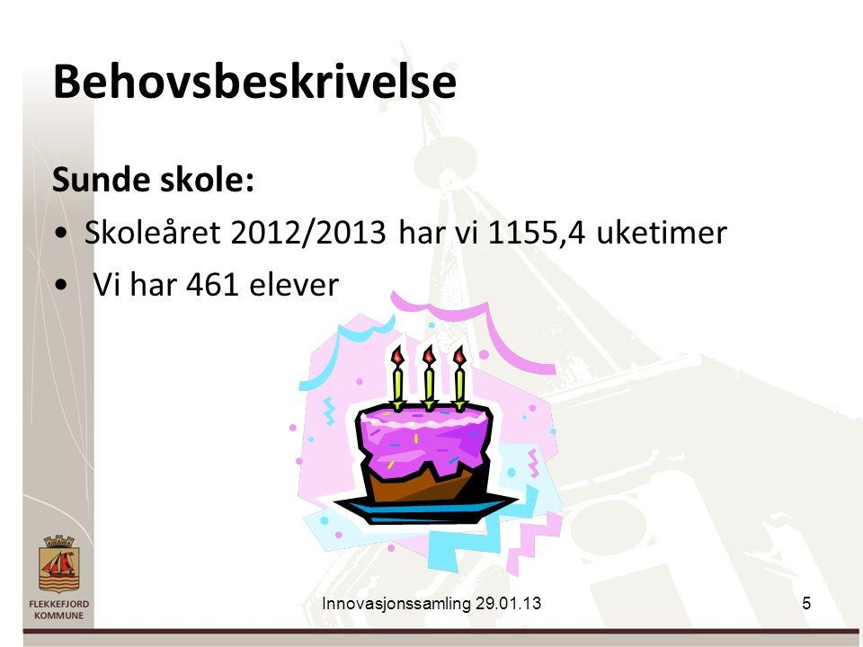 Behovsbeskrivelse Sunde skole: Skoleåret 2012/2013 har vi 1155,4 uketimer Vi har 461 elever Innovasjonssamling 29.01.135