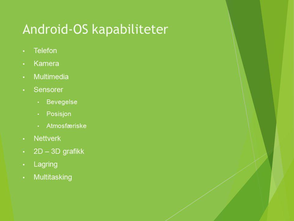 Android-OS kapabiliteter Telefon Kamera Multimedia Sensorer Bevegelse Posisjon Atmosfæriske Nettverk 2D – 3D grafikk Lagring Multitasking