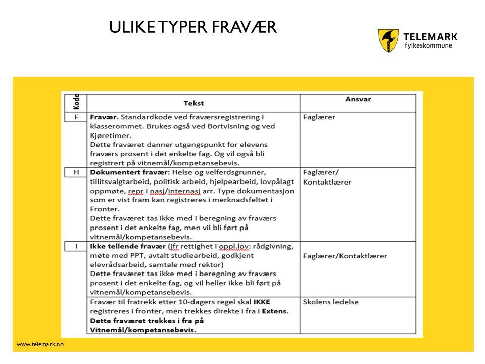 www.telemark.no ULIKE TYPER FRAVÆR