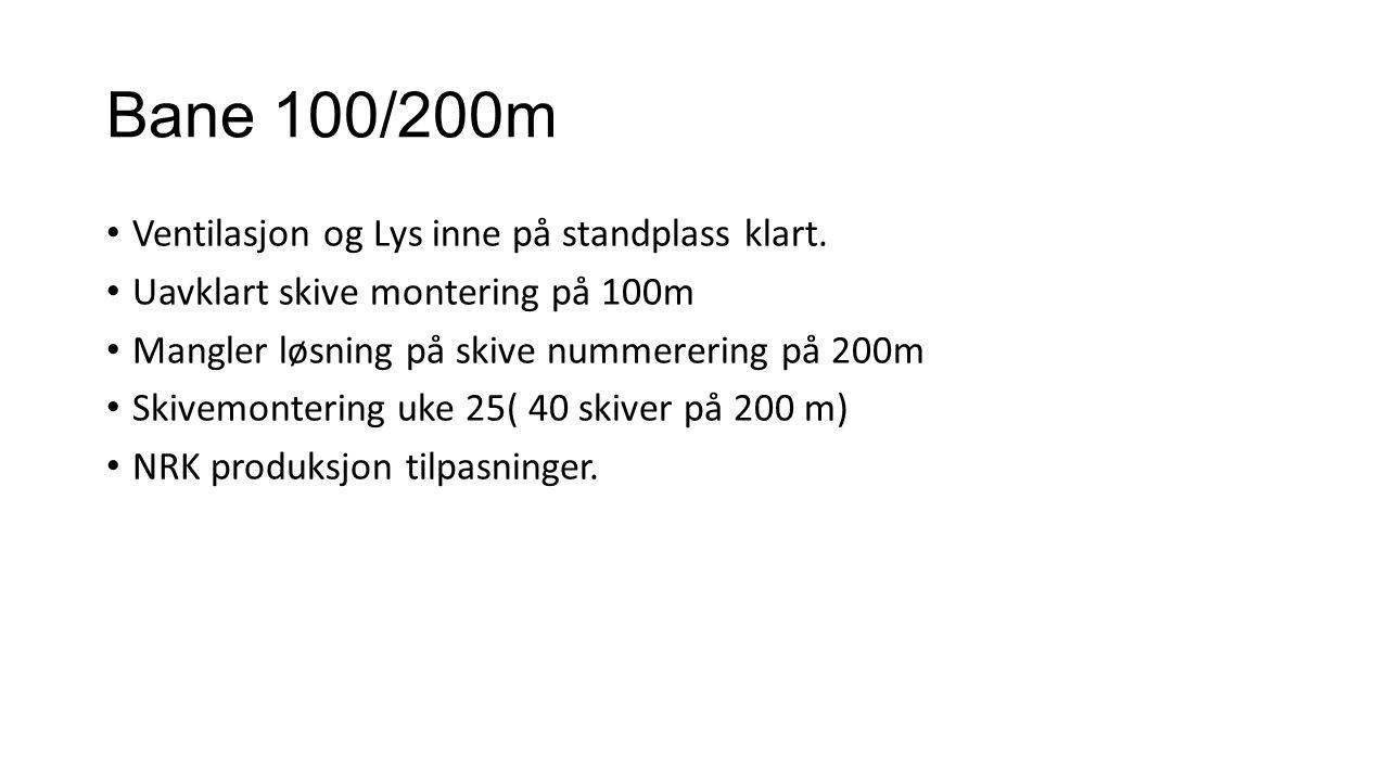 Bane 100/200m Ventilasjon og Lys inne på standplass klart. Uavklart skive montering på 100m Mangler løsning på skive nummerering på 200m Skivemonterin