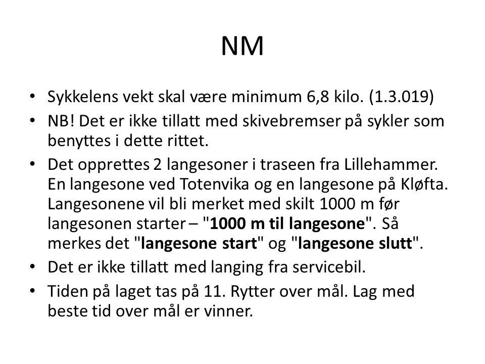 NM Sykkelens vekt skal være minimum 6,8 kilo. (1.3.019) NB! Det er ikke tillatt med skivebremser på sykler som benyttes i dette rittet. Det opprettes
