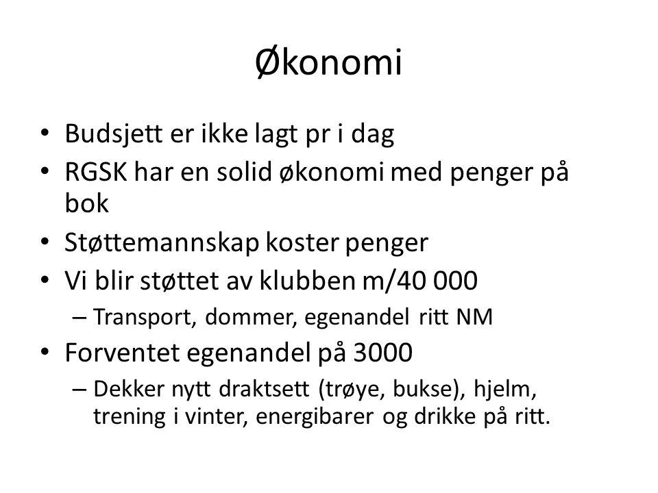 Økonomi Budsjett er ikke lagt pr i dag RGSK har en solid økonomi med penger på bok Støttemannskap koster penger Vi blir støttet av klubben m/40 000 –