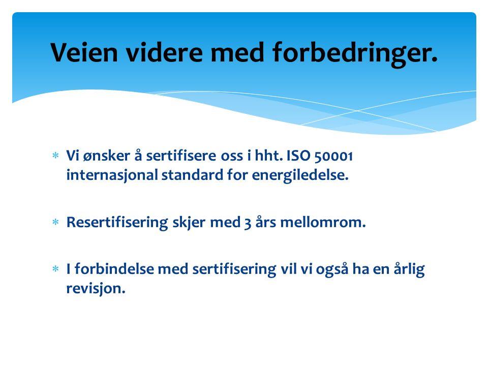  Vi ønsker å sertifisere oss i hht. ISO 50001 internasjonal standard for energiledelse.