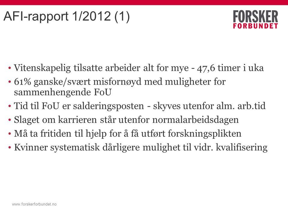www.forskerforbundet.no AFI-rapport 1/2012 (1) Vitenskapelig tilsatte arbeider alt for mye - 47,6 timer i uka 61% ganske/svært misfornøyd med muligheter for sammenhengende FoU Tid til FoU er salderingsposten - skyves utenfor alm.