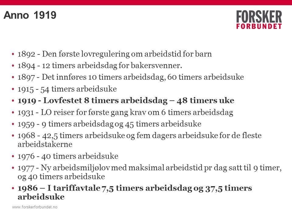 www.forskerforbundet.no Anno 1919 1892 - Den første lovregulering om arbeidstid for barn 1894 - 12 timers arbeidsdag for bakersvenner.