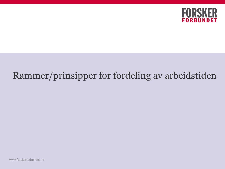 www.forskerforbundet.no Rammer/prinsipper for fordeling av arbeidstiden www.forskerforbundet.no