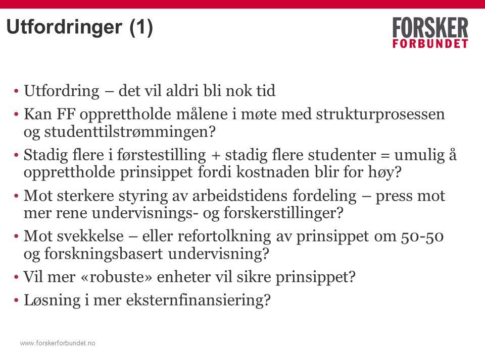 www.forskerforbundet.no Utfordringer (1) Utfordring – det vil aldri bli nok tid Kan FF opprettholde målene i møte med strukturprosessen og studenttilstrømmingen.