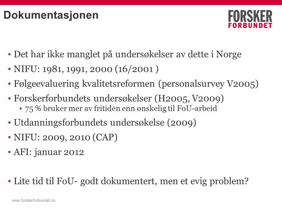 Dokumentasjonen Det har ikke manglet på undersøkelser av dette i Norge NIFU: 1981, 1991, 2000 (16/2001 ) Følgeevaluering kvalitetsreformen (personalsurvey V2005) Forskerforbundets undersøkelser (H2005, V2009) 75 % bruker mer av fritiden enn ønskelig til FoU-arbeid Utdanningsforbundets undersøkelse (2009) NIFU: 2009, 2010 (CAP) AFI: januar 2012 Lite tid til FoU- godt dokumentert, men et evig problem