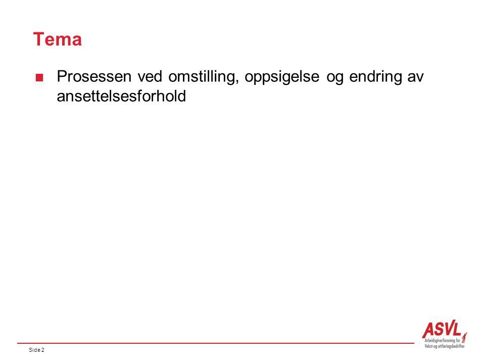 Side 2 Tema  Prosessen ved omstilling, oppsigelse og endring av ansettelsesforhold