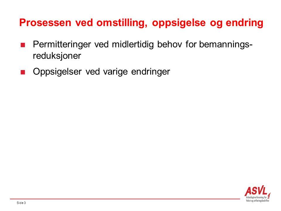 Side 3 Prosessen ved omstilling, oppsigelse og endring  Permitteringer ved midlertidig behov for bemannings- reduksjoner  Oppsigelser ved varige endringer