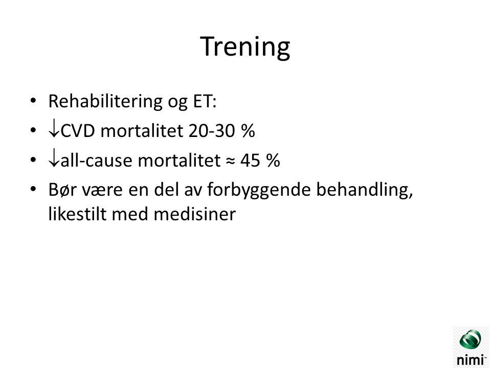 Trening Rehabilitering og ET:  CVD mortalitet 20-30 %  all-cause mortalitet ≈ 45 % Bør være en del av forbyggende behandling, likestilt med medisiner