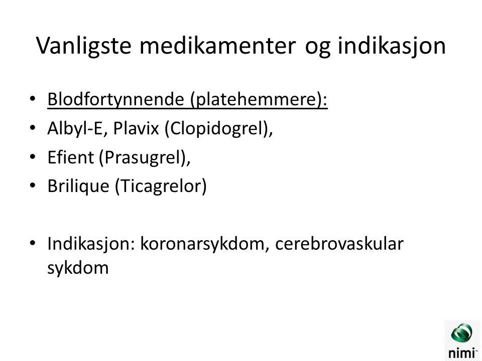 Vanligste medikamenter og indikasjon Blodfortynnende (platehemmere): Albyl-E, Plavix (Clopidogrel), Efient (Prasugrel), Brilique (Ticagrelor) Indikasjon: koronarsykdom, cerebrovaskular sykdom