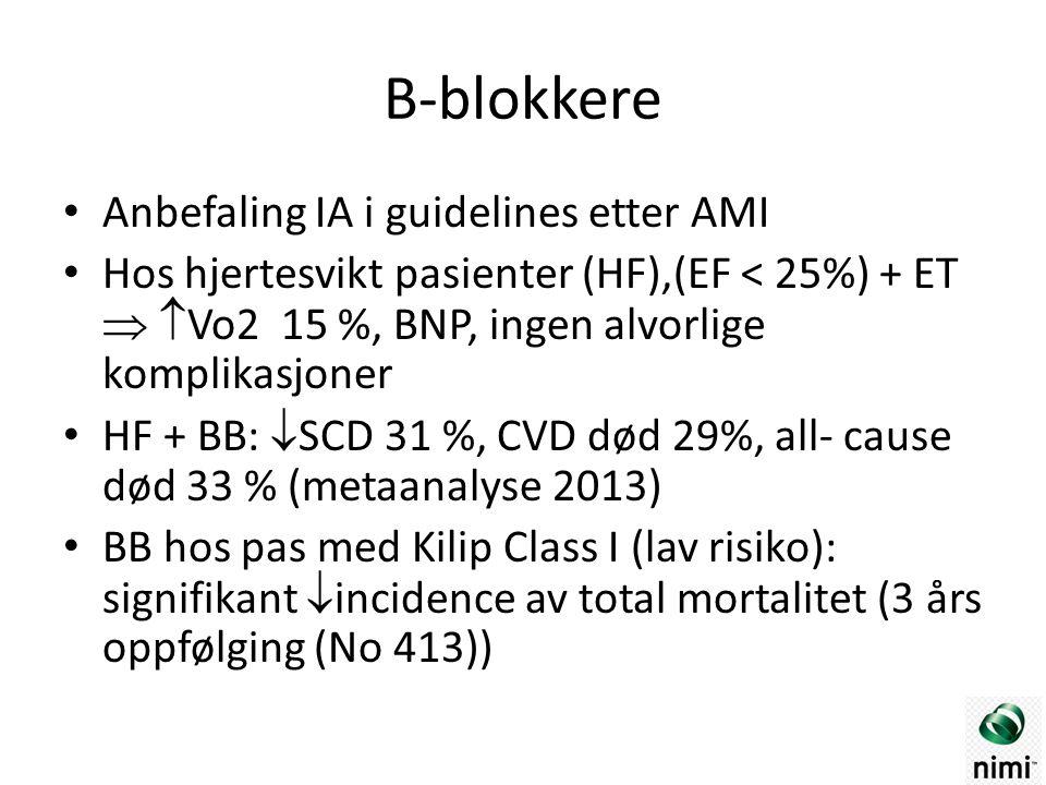B-blokkere Anbefaling IA i guidelines etter AMI Hos hjertesvikt pasienter (HF),(EF < 25%) + ET   Vo2 15 %, BNP, ingen alvorlige komplikasjoner HF + BB:  SCD 31 %, CVD død 29%, all- cause død 33 % (metaanalyse 2013) BB hos pas med Kilip Class I (lav risiko): signifikant  incidence av total mortalitet (3 års oppfølging (No 413))