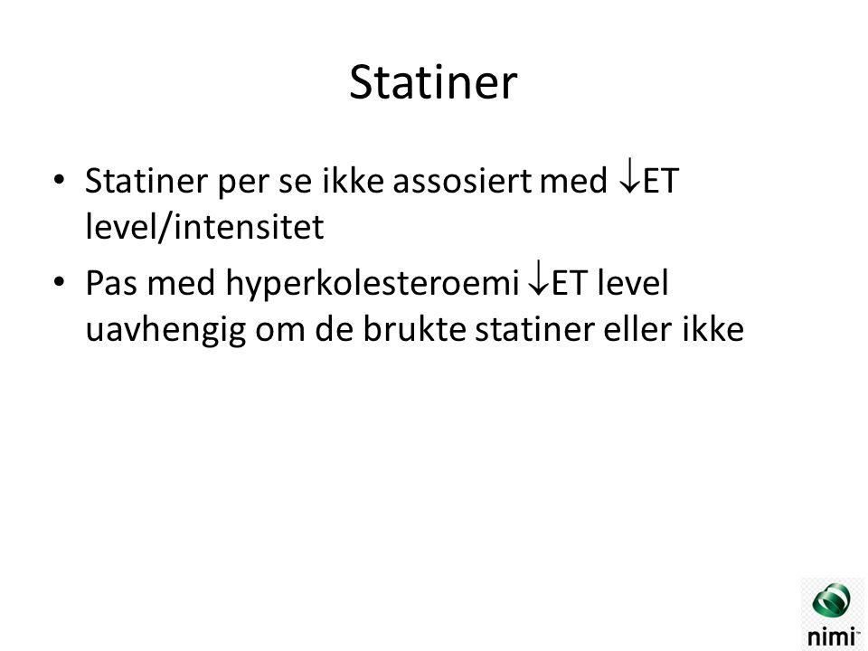 Statiner Statiner per se ikke assosiert med  ET level/intensitet Pas med hyperkolesteroemi  ET level uavhengig om de brukte statiner eller ikke