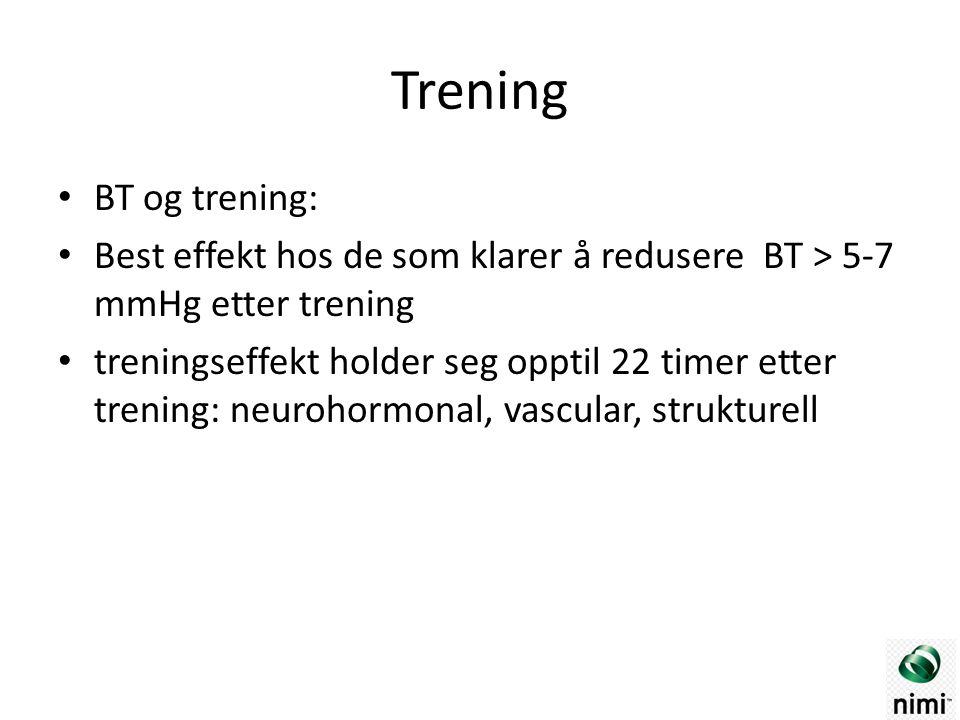 Trening BT og trening: Best effekt hos de som klarer å redusere BT > 5-7 mmHg etter trening treningseffekt holder seg opptil 22 timer etter trening: neurohormonal, vascular, strukturell