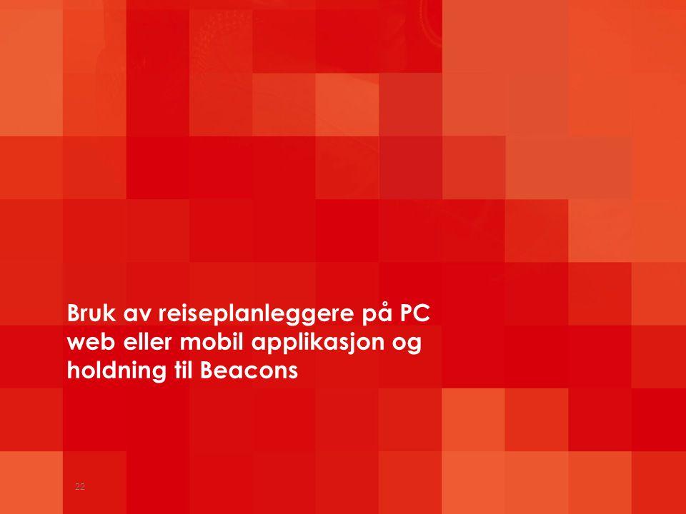 Bruk av reiseplanleggere på PC web eller mobil applikasjon og holdning til Beacons 22