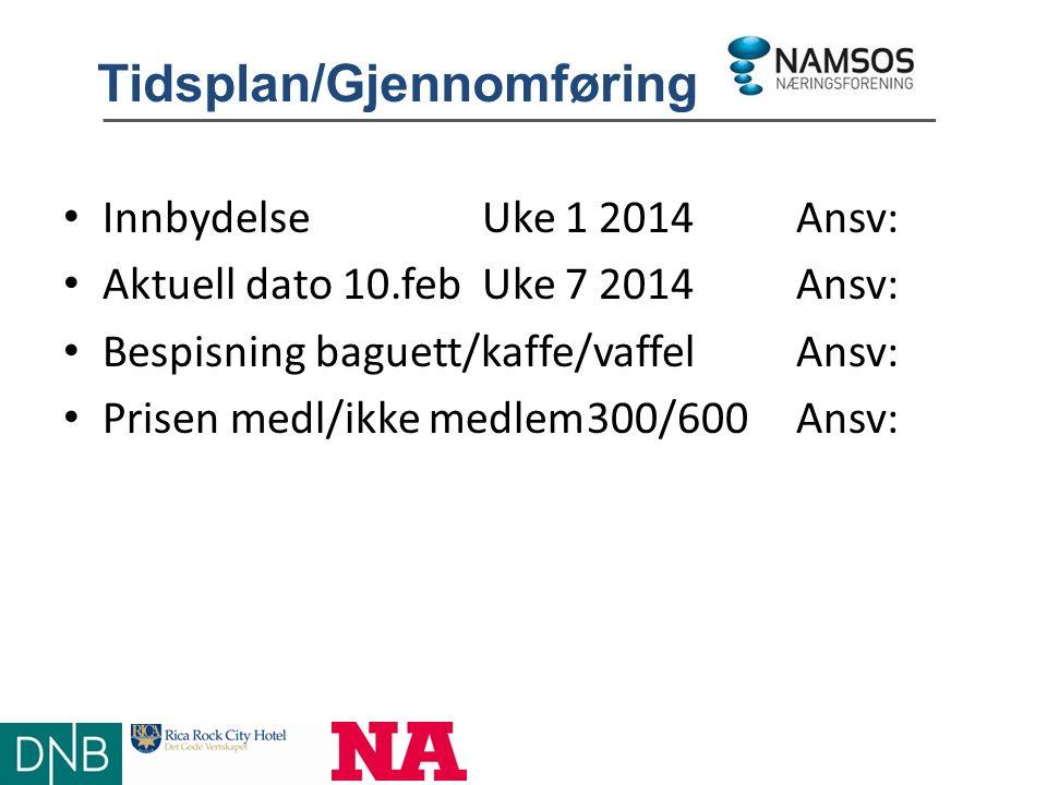 Tidsplan/Gjennomføring InnbydelseUke 1 2014Ansv: Aktuell dato 10.febUke 7 2014Ansv: Bespisning baguett/kaffe/vaffelAnsv: Prisen medl/ikke medlem300/600 Ansv: