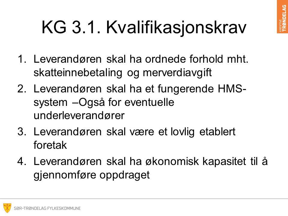 KG 3.1. Kvalifikasjonskrav 1.Leverandøren skal ha ordnede forhold mht.