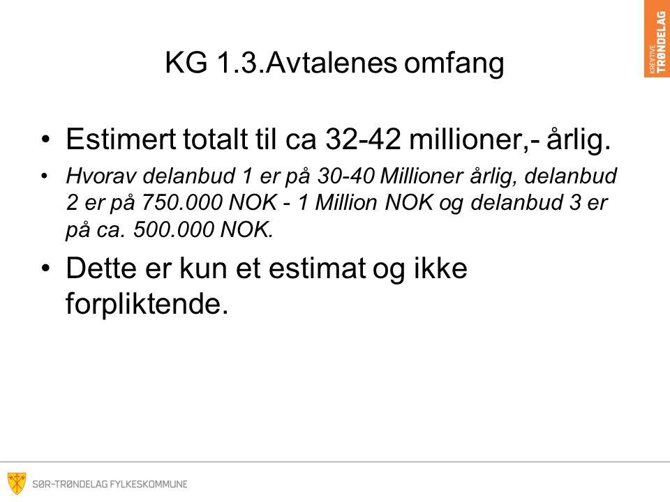 KG 6.1 Tildelingskriterier Delanbud 1 Pris: 55% Leverandør levere ferdig utfylt prisskjema hvor alle kostnader skal være inkludert Ikke-pris: 45% –Kvalitet 25% –Service 15% –Miljø 5%
