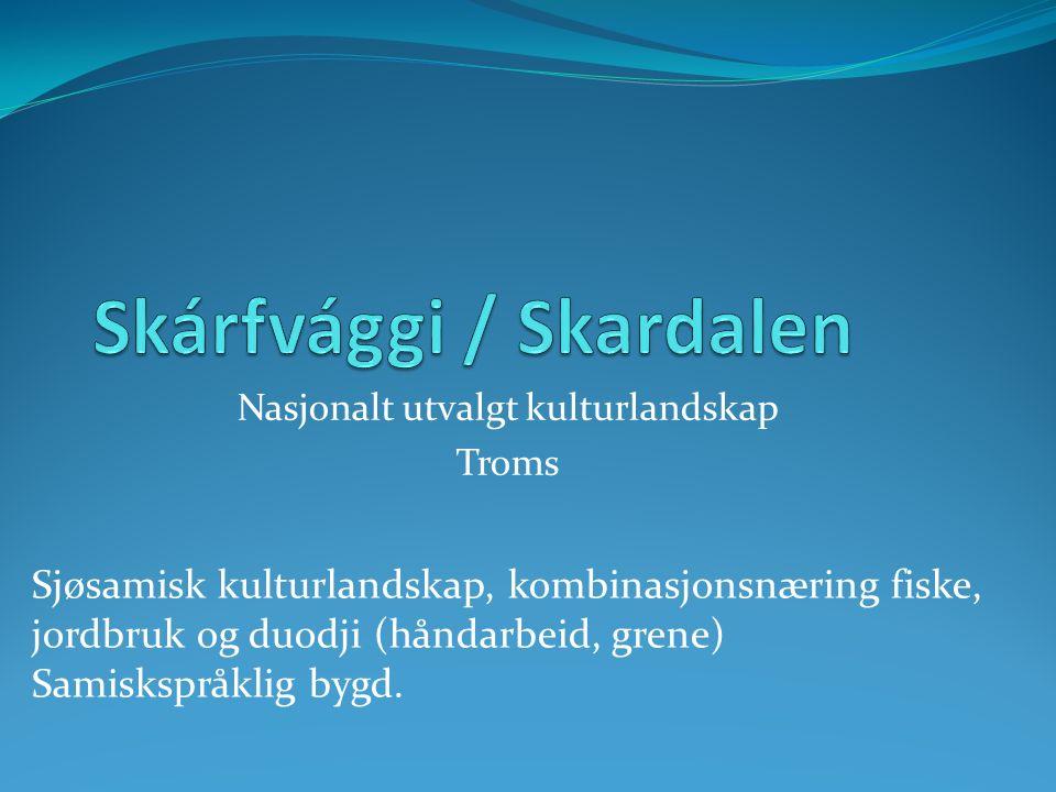 Nasjonalt utvalgt kulturlandskap Troms Sjøsamisk kulturlandskap, kombinasjonsnæring fiske, jordbruk og duodji (håndarbeid, grene) Samiskspråklig bygd.