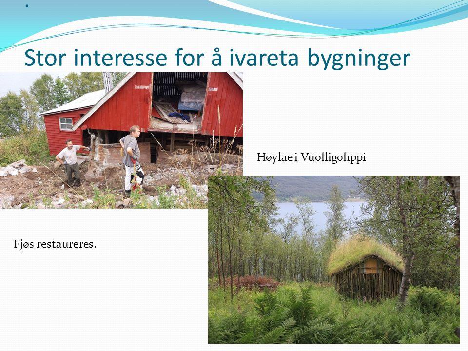 . Stor interesse for å ivareta bygninger Høylae i Vuolligohppi Fjøs restaureres.