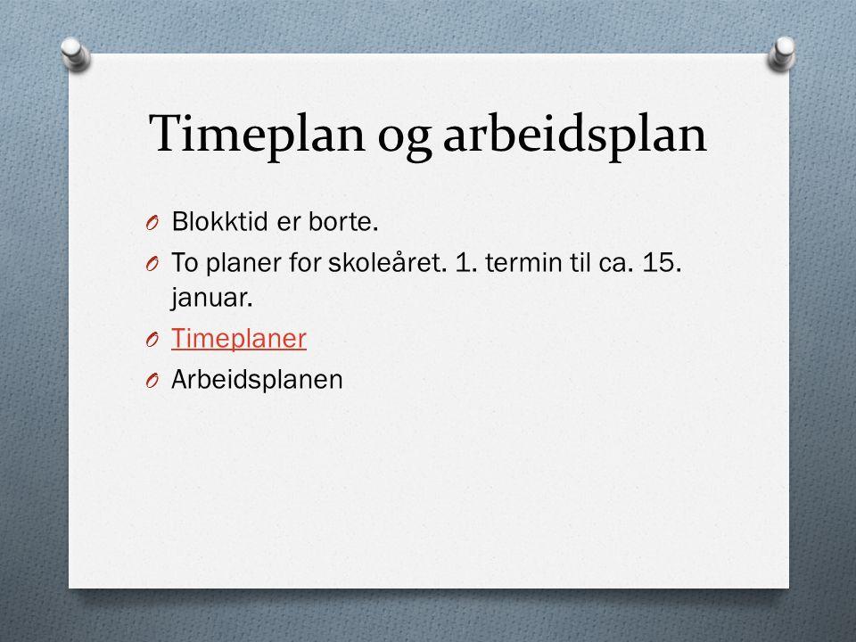 Timeplan og arbeidsplan O Blokktid er borte. O To planer for skoleåret.