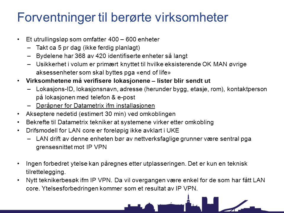 Forventninger til berørte virksomheter Et utrullingsløp som omfatter 400 – 600 enheter –Takt ca 5 pr dag (ikke ferdig planlagt) –Bydelene har 368 av 4