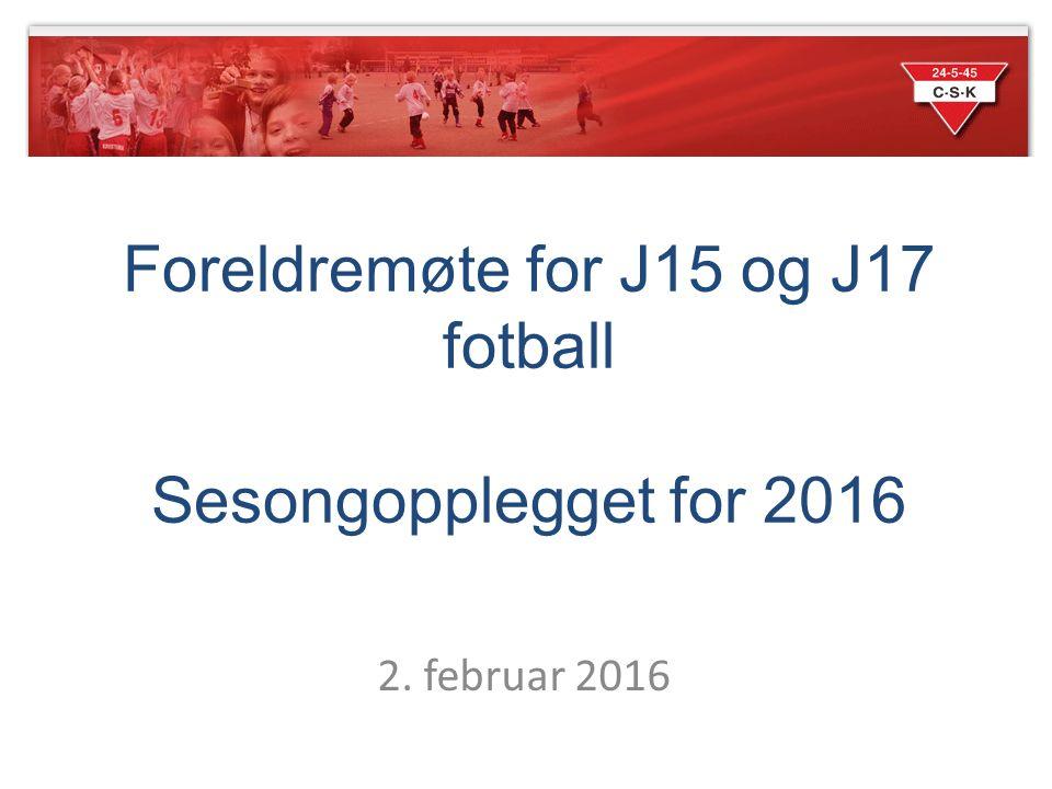 2. februar 2016 Foreldremøte for J15 og J17 fotball Sesongopplegget for 2016