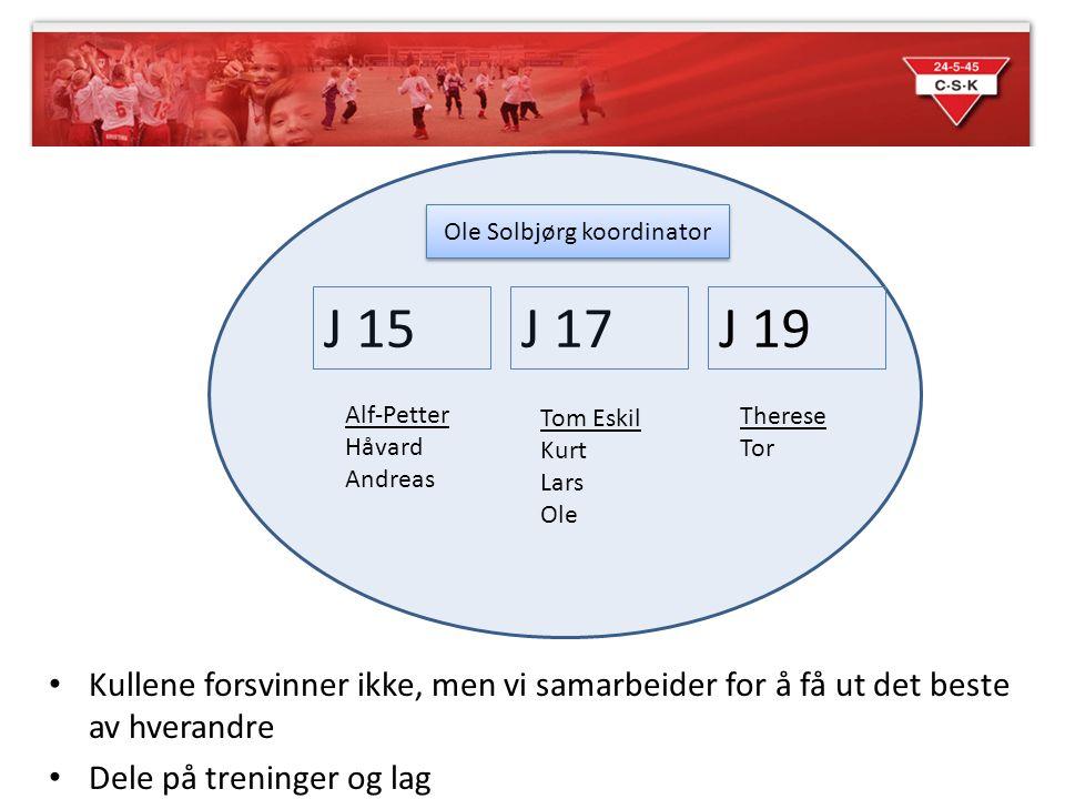 Kullene forsvinner ikke, men vi samarbeider for å få ut det beste av hverandre Dele på treninger og lag J 15J 17 Alf-Petter Håvard Andreas J 19 Tom Es