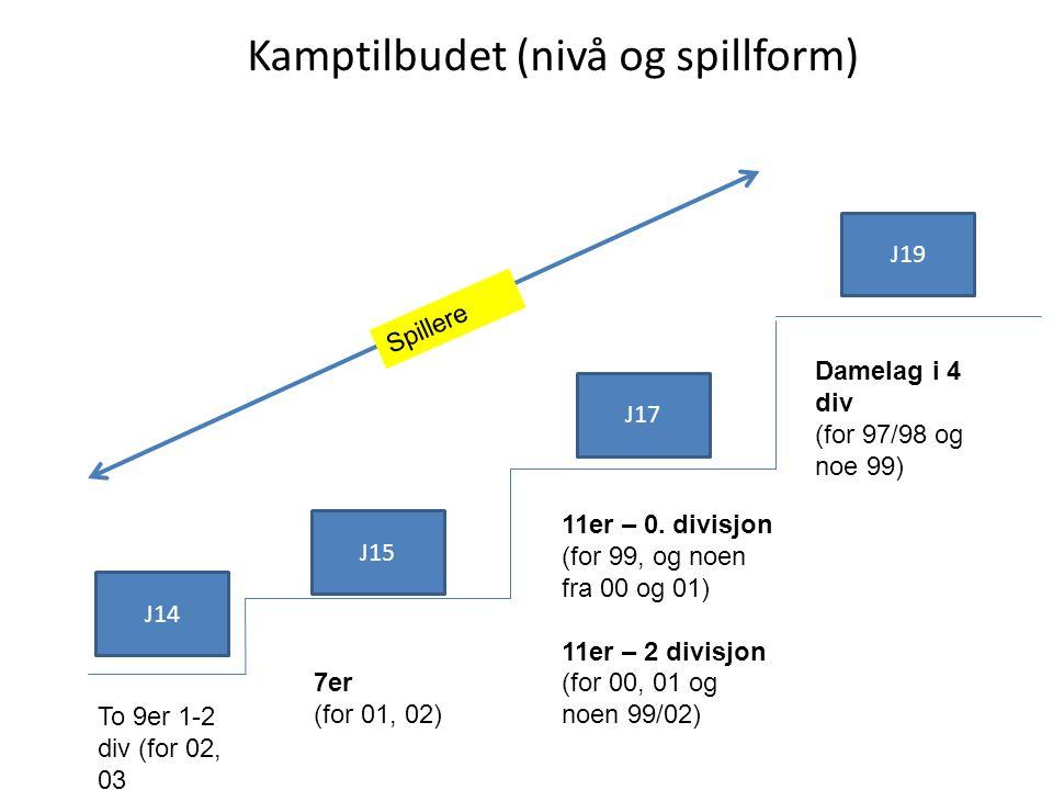 J15 J17 J19 J14 7er (for 01, 02) 11er – 0. divisjon (for 99, og noen fra 00 og 01) 11er – 2 divisjon (for 00, 01 og noen 99/02) Damelag i 4 div (for 9