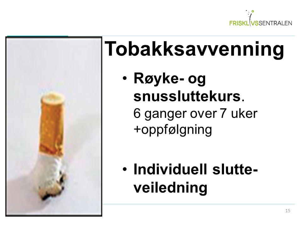 Tobakksavvenning Røyke- og snussluttekurs. 6 ganger over 7 uker +oppfølgning Individuell slutte- veiledning 15