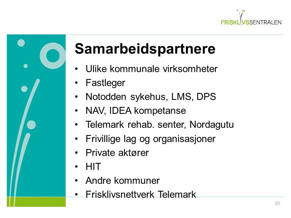 Samarbeidspartnere Ulike kommunale virksomheter Fastleger Notodden sykehus, LMS, DPS NAV, IDEA kompetanse Telemark rehab. senter, Nordagutu Frivillige