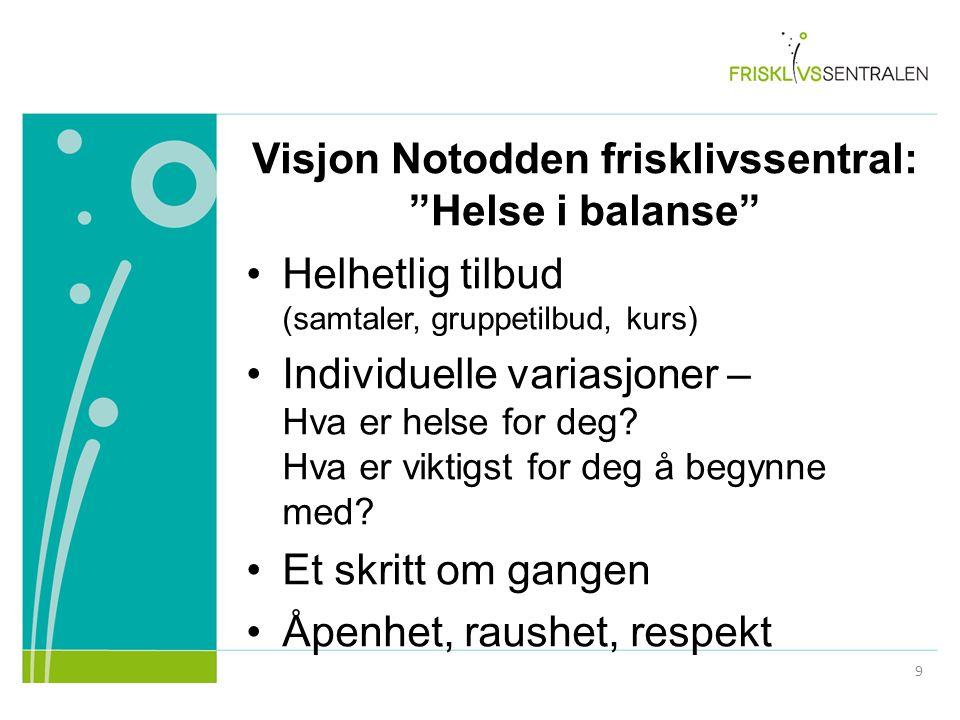 """Visjon Notodden frisklivssentral: """"Helse i balanse"""" Helhetlig tilbud (samtaler, gruppetilbud, kurs) Individuelle variasjoner – Hva er helse for deg? H"""