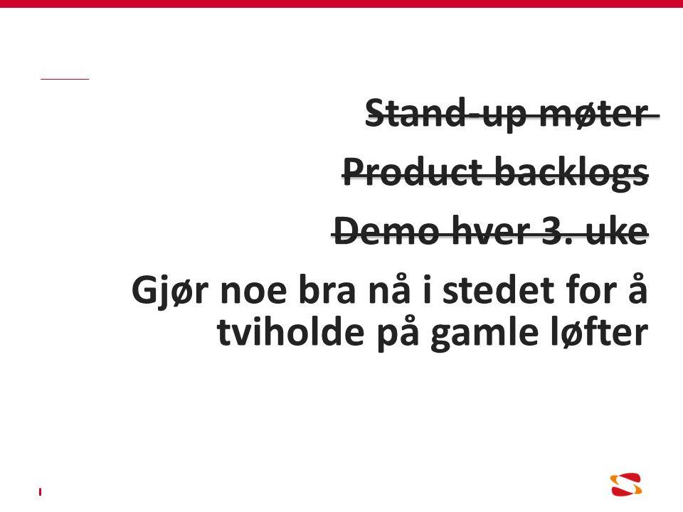 Stand-up møter Product backlogs Demo hver 3.