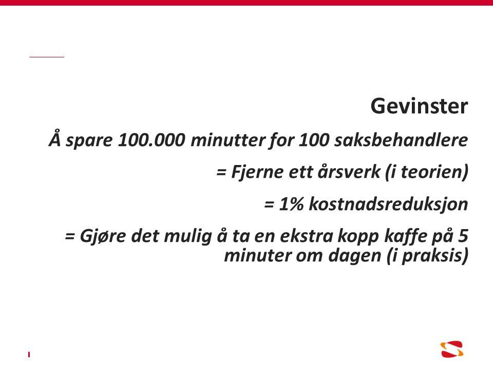 Gevinster Å spare 100.000 minutter for 100 saksbehandlere = Fjerne ett årsverk (i teorien) = 1% kostnadsreduksjon = Gjøre det mulig å ta en ekstra kopp kaffe på 5 minuter om dagen (i praksis)