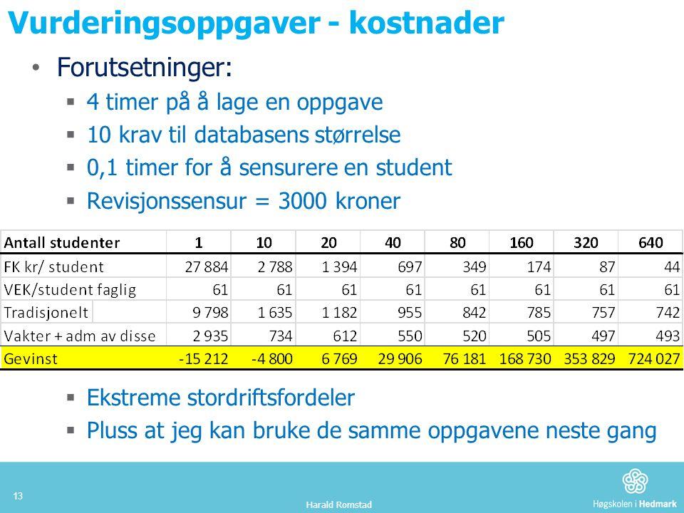 Vurderingsoppgaver - kostnader Forutsetninger:  4 timer på å lage en oppgave  10 krav til databasens størrelse  0,1 timer for å sensurere en student  Revisjonssensur = 3000 kroner  Ekstreme stordriftsfordeler  Pluss at jeg kan bruke de samme oppgavene neste gang Harald Romstad 13