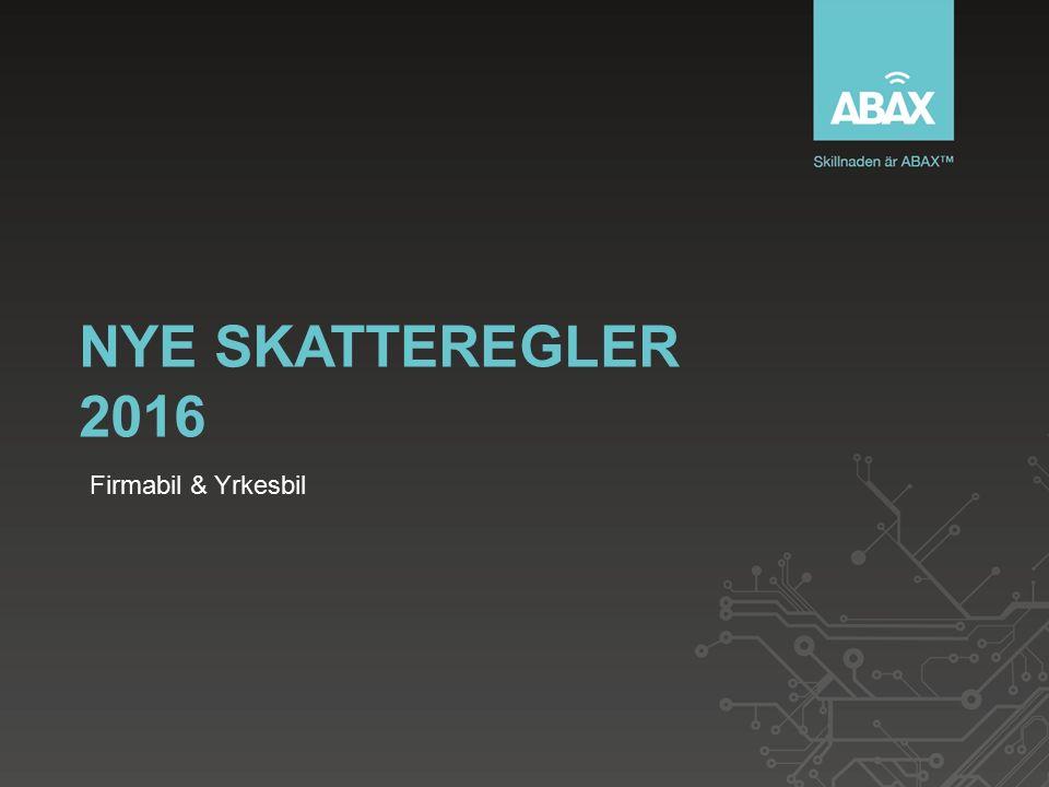 NYE SKATTEREGLER 2016 Firmabil & Yrkesbil