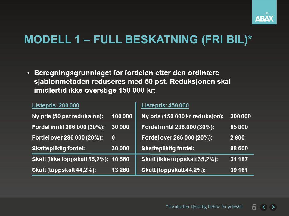 MODELL 1 – FULL BESKATNING (FRI BIL)* Beregningsgrunnlaget for fordelen etter den ordinære sjablonmetoden reduseres med 50 pst.