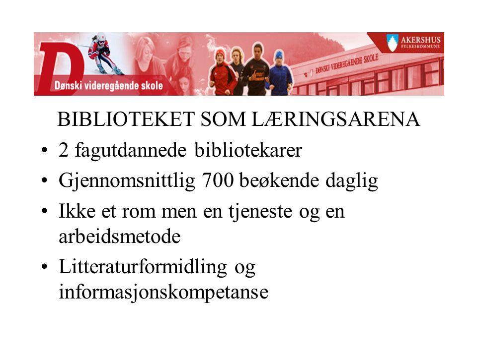 BIBLIOTEKET SOM LÆRINGSARENA 2 fagutdannede bibliotekarer Gjennomsnittlig 700 beøkende daglig Ikke et rom men en tjeneste og en arbeidsmetode Litteraturformidling og informasjonskompetanse