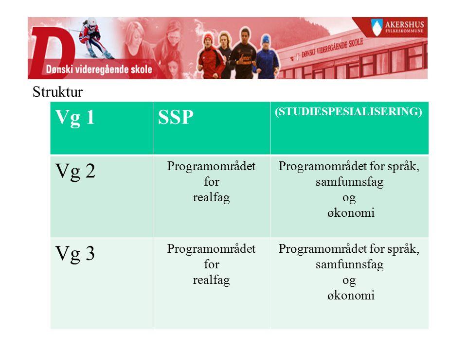 Vg 1SSP (STUDIESPESIALISERING) Vg 2 Programområdet for realfag Programområdet for språk, samfunnsfag og økonomi Vg 3 Programområdet for realfag Programområdet for språk, samfunnsfag og økonomi Struktur