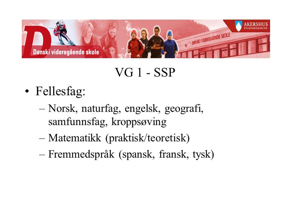 VG 1 - SSP Fellesfag: –Norsk, naturfag, engelsk, geografi, samfunnsfag, kroppsøving –Matematikk (praktisk/teoretisk) –Fremmedspråk (spansk, fransk, tysk)