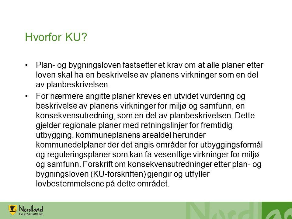 Hvorfor KU? Plan- og bygningsloven fastsetter et krav om at alle planer etter loven skal ha en beskrivelse av planens virkninger som en del av planbes